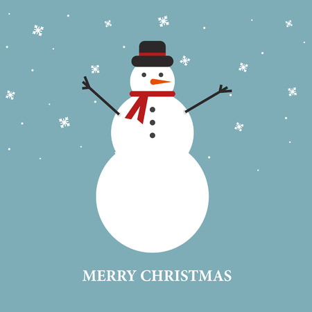 Christmas background with snowman and snowflakes. Vector illustration for New year Çizim