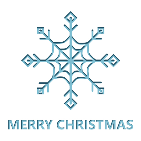 Christmas card with Snowflake cut from paper. Vector Christmas background