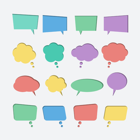 Collection of color paper cut out speech bubble vector icons. Paper cut style. 3D elements with shadow,easy edited. Set of chat, web icons Çizim