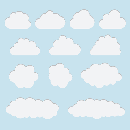 Collection of white paper cut out cloud icons, signs,weather symbols. Paper cut style. 3D elements with shadow,easy edited. Set of vector sky elements