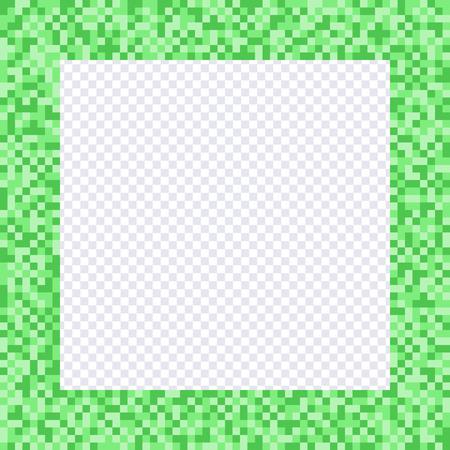 Green pixel frame, borders. Vector element pixel style Çizim