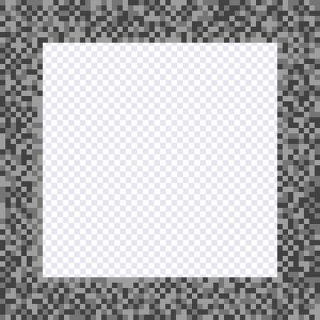 Monochrome pixel frame, borders. Vector element pixel style