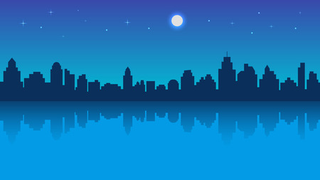 Night city with reflection and starry sky. Vector illustration in flat style design. Buildings silhouettes. Modern night urban landscape Çizim