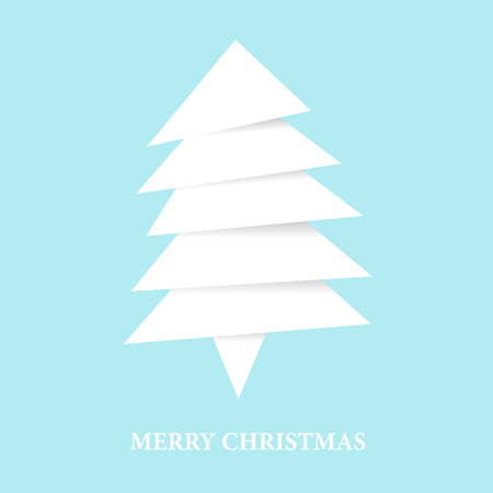 Paper white christmas tree from pieces of paper. Vector new year card