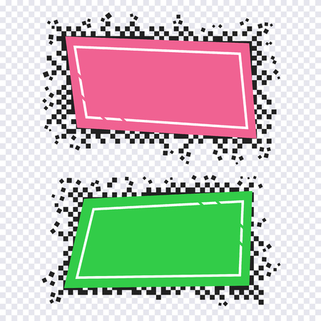 Pixel art design of banners. Vector blank frames ready for your text or design Çizim