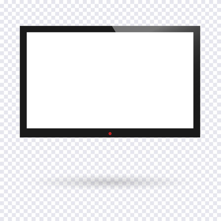 Realistic TV screen. Modern blank screen lcd, led, isolated on transparent background. Graphic design element, mock up. Vector illustration