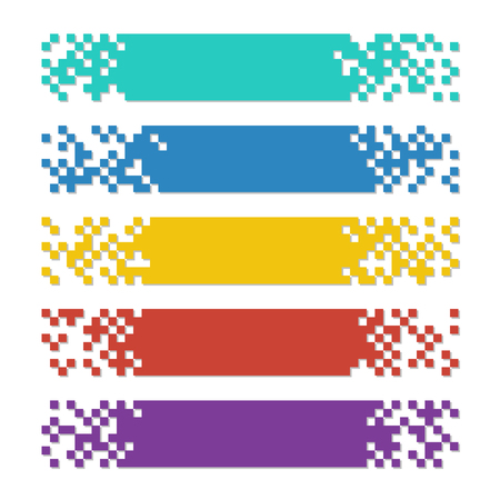 Set of color abstract pixel web banners with shadows for headers. Vector templates ready for your text or design