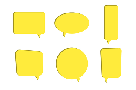 Set of yellow paper cut out speech bubble vector icons. Paper cut style. 3D elements with shadow,easy edited.Chat, web icons