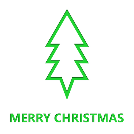 Simple Christmas tree cut from paper. Vector Christmas card