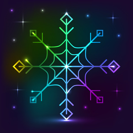 Snowflake neon lights effect. Vector neon element. Greeting card background for Christmas and New Year Çizim