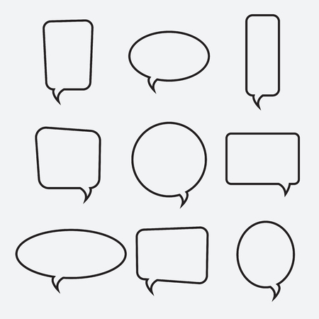 Speech bubble linear icons, vector collection. Chat, web icons. Flat design style, vector illustration Çizim