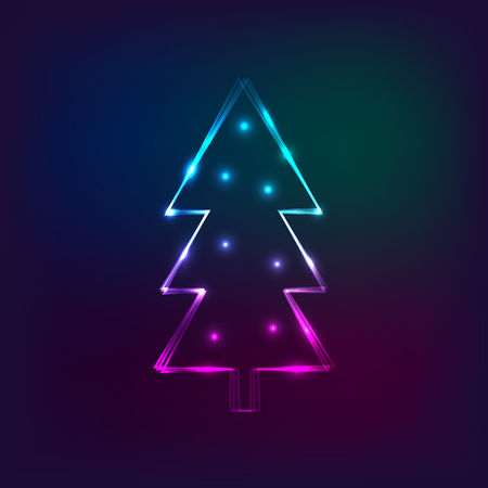 Stylish New Year card with neon christmas tree. Christmas tree made from flashes and lights. Vector illustration for holiday cards, party invitations, disco banners