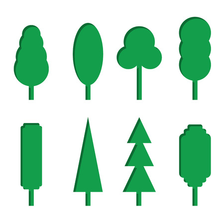 Vector set of green paper tree icons. Paper cut style. 3D elements with shadow,easy edited. Isolated on white background