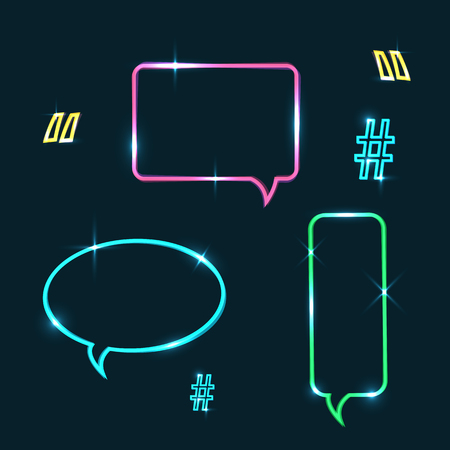 Vector set of neon speech bubbles,neon quote marks and neon hashtag. Glowing neon ui ux icons. Glowing signs for design