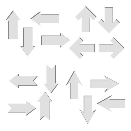Vector set of paper cut out arrows,direct shape. 3D elements with shadow,easy edited. Business infographic presentation diagram. Up and down trend,exact pointer Çizim