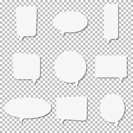 White paper speech bubble vector icons. Paper cut style. 3D elements with shadow,easy edited.Set of chat, web icons