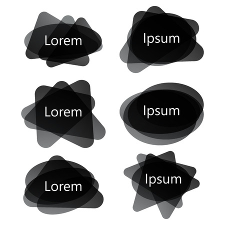 Black different shapes abstract banners,vector set. Graphic overlay banners,label, tags, speech bubbles design Çizim