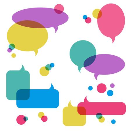 Color transparent speech bubbles, icons set. Chat, web icons. Flat design style, vector illustration