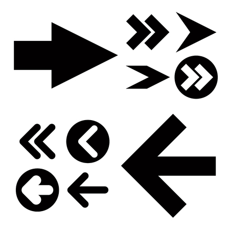 Different black Arrows icons,vector set. Abstract elements for business infographic. Up and down trend Çizim