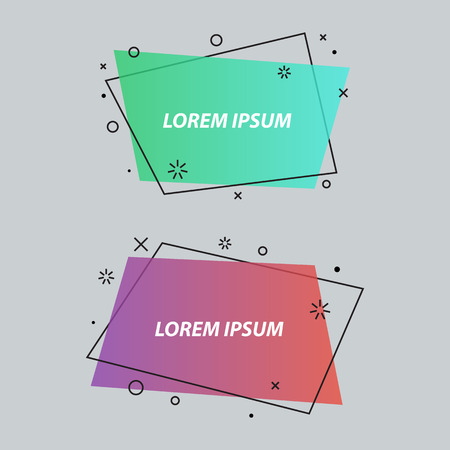 Geometric speech bubbles,banners,stickers,flat style. Ribbon banner, price tag, badge, poster. Vector set Çizim