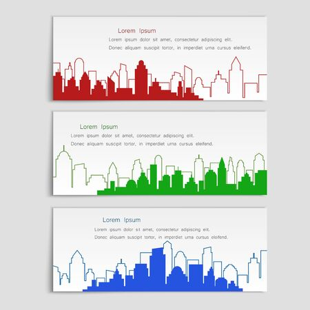 Linear flat style, set of vector banners with city silhouettes. Cover template for architectural design