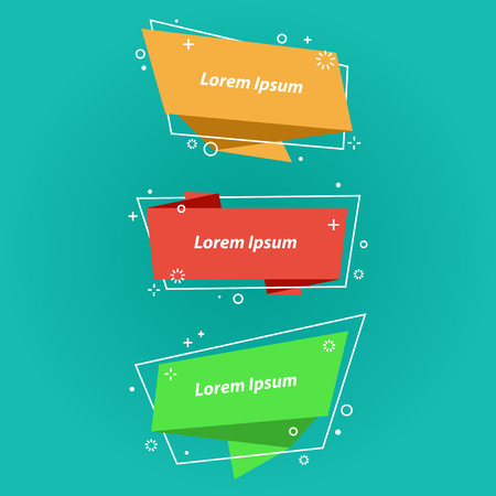 Origami style speech bubbles,banners,stickers. Geometric ribbon banner, price tag, badge, poster. Vector set, flat linear design Çizim
