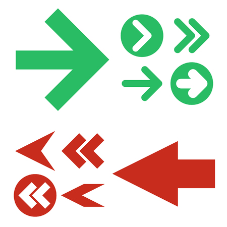 Red and green Arrows icons,vector set. Abstract elements for business infographic. Up and down trend