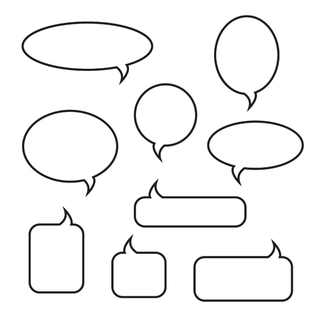 Rounded speech bubbles linear icons set. Chat, web icons. Flat design style, vector illustration