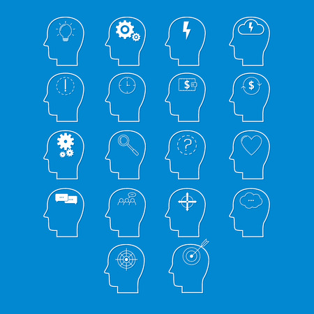 Set of brain activity icons, cut from white paper. Creative logo design. Modern vector pictogram concept