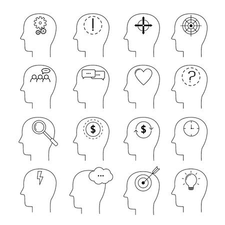 Set of Brain activity icons, thin line style, flat design. Modern vector pictogram concept Çizim
