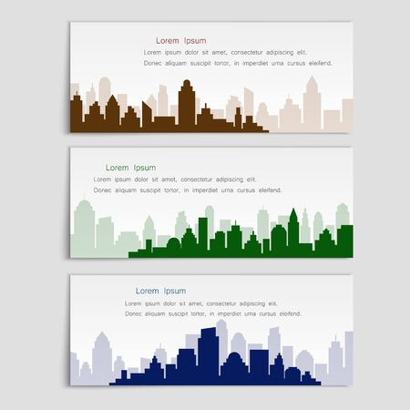 Set of vector banners with city silhouettes,flat style. Cover template for architectural design