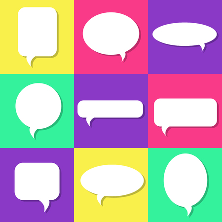Set of white speech bubbles with shadows, icons set. Chat, web icons. Flat design style, vector illustration