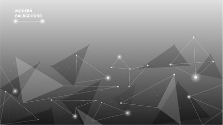 Abstract geometric futuristic polygonal background. Low poly shapes  design with connecting dots and lines. Wallpaper of connection triangle structure. Vector illustration digital technology concept Çizim