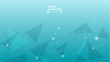 Blue abstract geometric polygonal background. Low poly shapes  design with connecting dots and lines. Wallpaper of connection triangle structure. Vector illustration digital technology concept Çizim