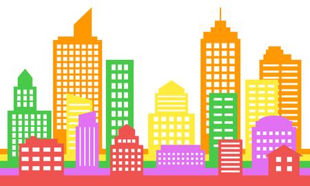 Bright colorful cityscape background, modern architecture. Building icon,silhouette, Stylish urban landscape. Megapolis panorama. Vector illustration