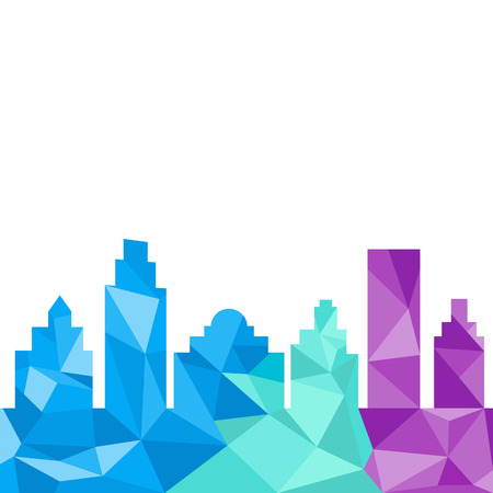 City buildings silhouette polygonal style. Vector illustration with colorful polygons composition