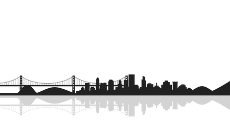 Cityscape background with bridge,silhouette of city. Vector illustration in flat style design. Buildings silhouettes,urban landscape Çizim