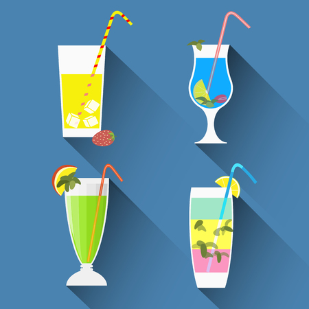Cocktails icons with long shadows,flat style. Cocktail glass with drinks emblems. Vector set for menu, web,graphic design