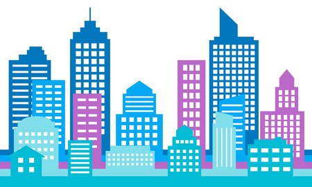 Colorful cityscape background, modern architecture. Building icon,silhouette, Stylish urban landscape. Megapolis panorama. Vector illustration Çizim
