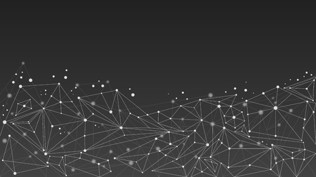 Geometric abstract molecule background, black and white. Low poly shapes design with connecting dots and lines. Çizim