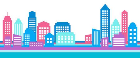 Horizontal colorful cityscape banner, modern architecture. Building icon,silhouette. Stylish urban landscape. Çizim