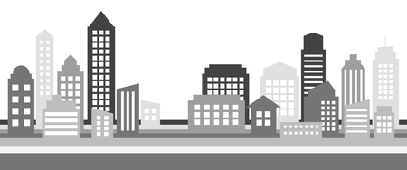 Monochrome horizontal cityscape banner, modern architecture. Building icon,silhouette. Stylish urban landscape. Megapolis panorama. Vector illustration