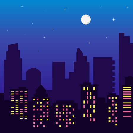 Night silhouette of buildings with colorful windows, full moon,stars, cartoon style. Vector illustration of cityscape, flat design