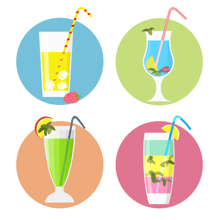 Set of cocktails icons,flat style. Cocktail glass with drinks emblems. Vector collection for menu, web,graphic design