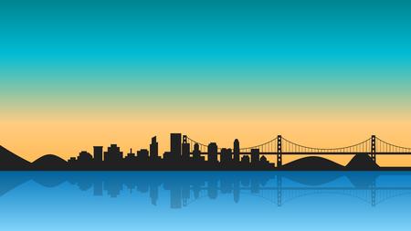 Silhouette of City with reflection on sunrise. Cityscape background with bridge. Çizim