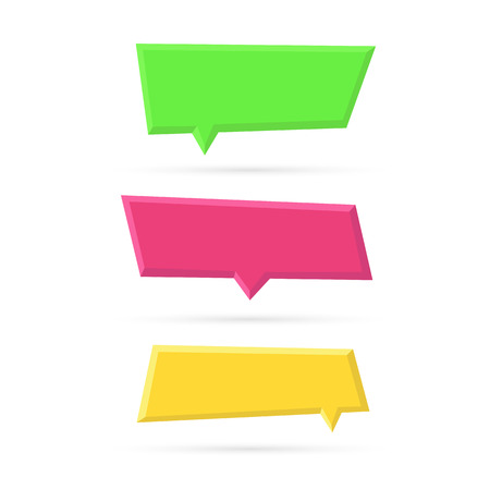Vector set of color empty plastic speech bubbles. Blank frame mockup template isolated on white background. Vector illustration