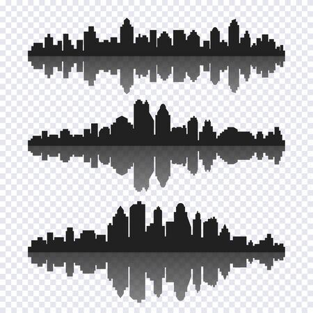 Vector set of different black horizontal cityscape with reflection. Vector city silhouettes, element for design banners,web design, architectural backgrounds