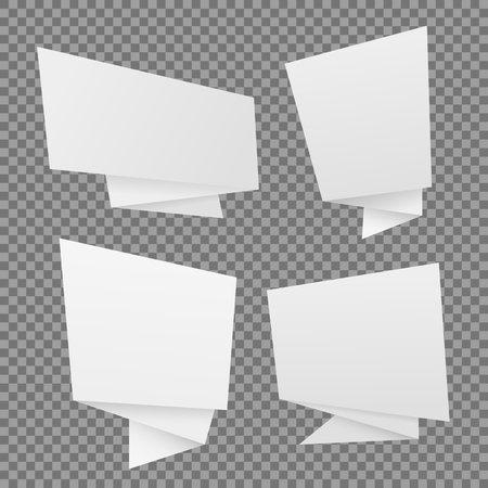 Vector set of white paper origami speech bubbles. Vector templates,Chat, web icons Çizim