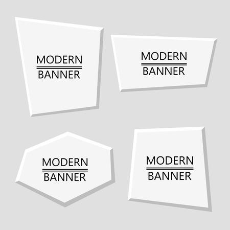 Vector set of white plastic modern banners. Blank frame mockup template isolated on neutral background. Vector illustration Çizim
