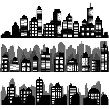 Set of different black horizontal night cityscape.